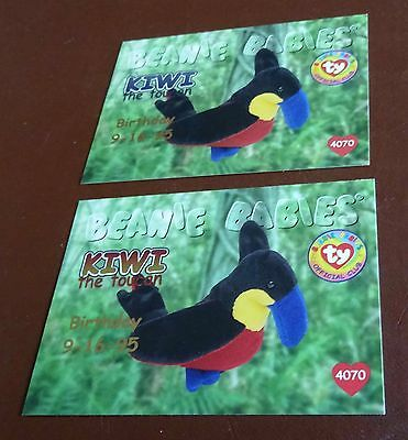 TY Beanie Baby Card - Series 1 -Kiwi the Toucan - Red & Blue - Birthday