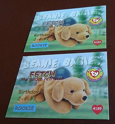 TY Beanie Baby Card - Series 1 -Fetch the Golden Retriever - Red & Silver