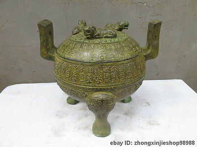 """Chinese Folk old  Bronze carve Three tigers """"Ancient writing"""" Pot Container"""