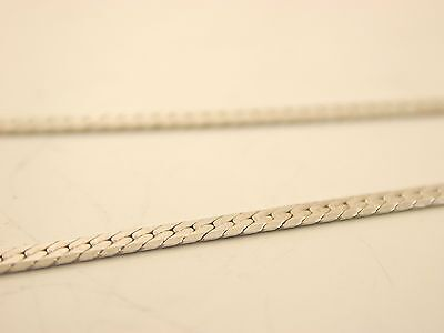 """Silver bracelet 7"""" and necklace 15"""" chain set snake flat curb."""