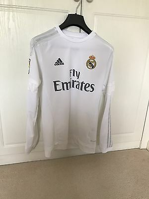 Real Madrid Home Shirt 15/16 Long Sleeve L/S Size Small