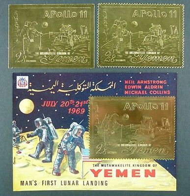122/SPACE RAUMFAHRT 1969 YEMEN JEMEN Kingdom Apollo Gold 796 A/B + Block 164 MNH
