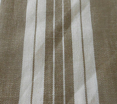 Antique French Dark Brown Wide Stripe Cotton Ticking Fabric ~