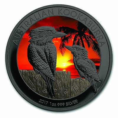 NEW!2017 Kookaburra Sunset Colorized Ruthenium Plated Silver Coin by Golden Noir