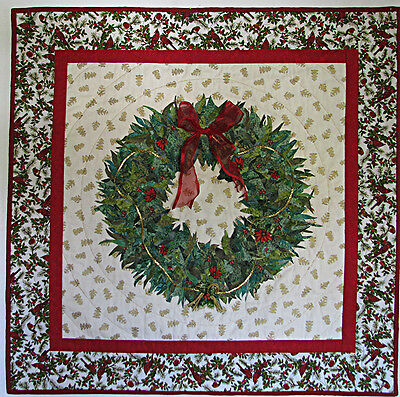 Art Quilt for Sale Quilted Christmas Wreath Wall Hanging, Handmade HMJQuiltsPlus