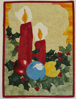 Art Quilt for Sale Quilted Christmas Wall Hanging Candles Handmade HMJQuiltsPlus