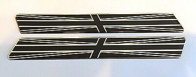 LARGE TWIN CHROME & BLACK UNION JACK FLAGS - DOMED GEL FINISH Stickers/Decals UK