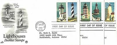 1990 Lighthouse Booklet Stamps set of 3 FDC's