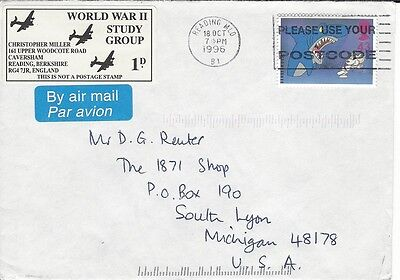 1996 UK cover to US with WW2 Study Group cachet
