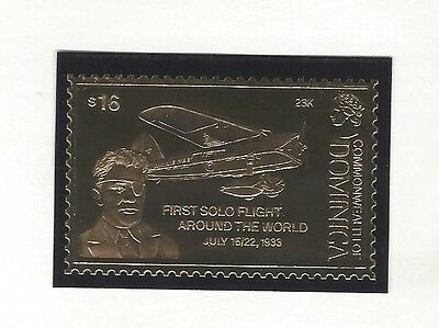 Dominica-1'st Solo Flight Around The World 1933 Gold Foil 23K stamp MNH