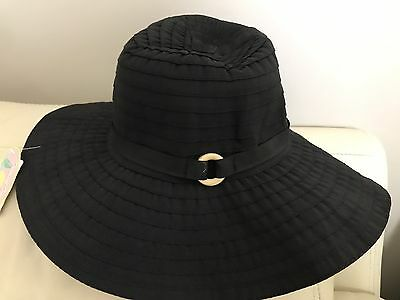 NWT CAPPELLI New York Women's Solid Ribbon Floppy Hat, One size, Black