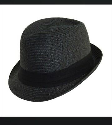 New SCALA Pronto Women's Paper Braid Fedora Hat In Black, One size