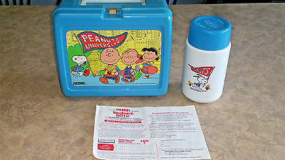 Vintage 1965 Peanuts University Lunchbox with Matching Thermos