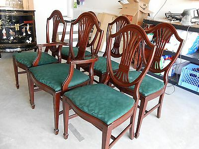Set of 6 Mahogany Vintage Antique Shield Back Hepplewhite Dining Chairs