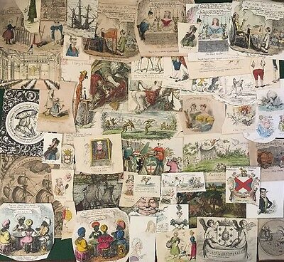 52x Victorian Scrap Book Items / Scraps Many Hood's Comic Annual 1833/34 Pieces
