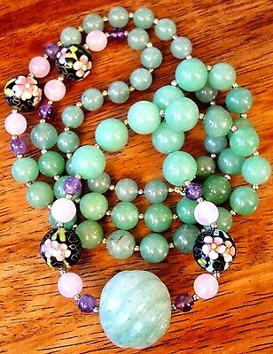 Vintage Fluted Carved Melon Green Jadeite Enamel Brass Cloisonne Bead Necklace