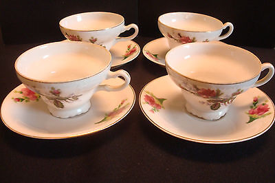 Set of 4 Vintage, collectable Wales China Tea Cup & Saucer, hand painted, Japan