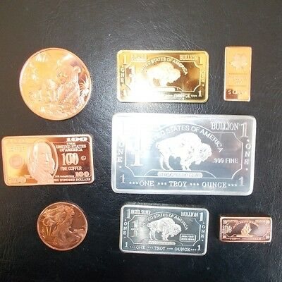 Larger starter Collection mix assorted  bullion bars coins  Bars 8 total