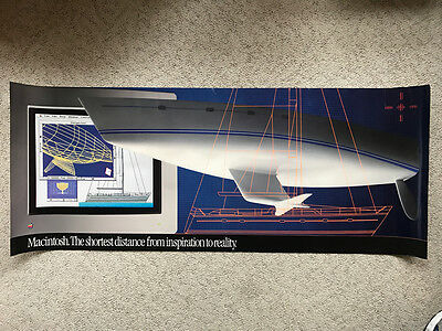 """Very Large POSTER Apple """"Macintosh: The shortest distance."""" BOAT VERSION 50""""x20"""""""