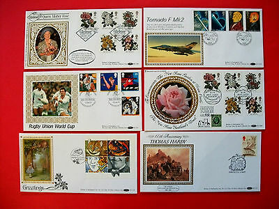 6 Large Benham Silks First Day Covers 1990-1991