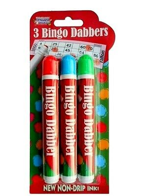 Pack of 3 Novelty Bingo Dabbers Marker Pens - Non Drip Ink -WH2 - R2B - NEW
