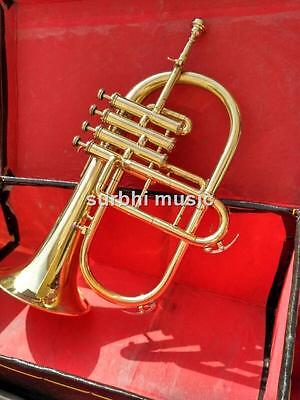 FlugelHorn 4 Valve in Gold Lacquer With Free Case & Mouthpc & Fast Shipping