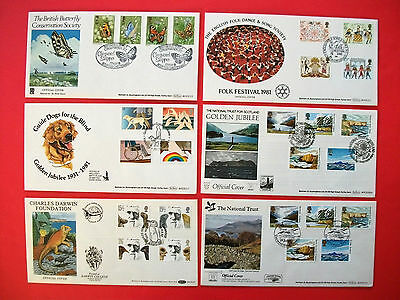6 Large Benham First Day Covers 1981 - 1982