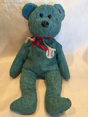 107f301f83d Collectible 2001 TY Beanie Baby Addison Baseball Patch Blue Teddy Bear