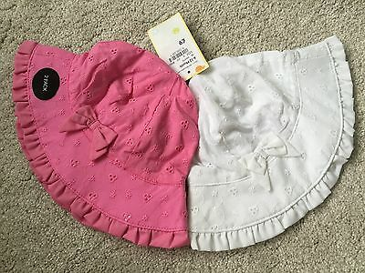 NEW Baby Girls Pack Of 2 Pink & White Embroidered Hat 12-18 months Debenhams