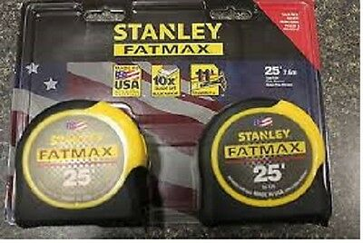 Lot of 3 Stanley FATMAX 2-Packs (6) 25' Locking Tape Measures Blade Armor USA