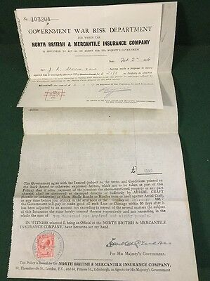 WW1 1916 Government Aircraft Insurance - North British & Mercantile Insurance Co