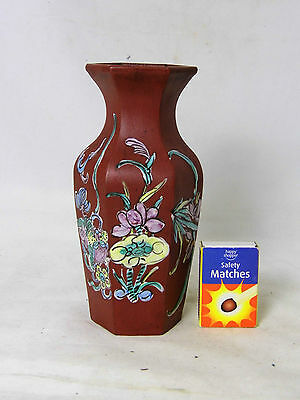 Antique Chinese Hexagonal Red Ware Vase with enamel decoration of flowers, etc