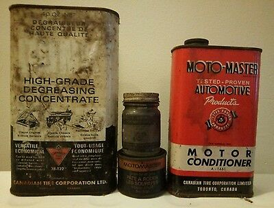 Vintage Canadian Tire Motomaster Greese Motor Oil Company Can Lot