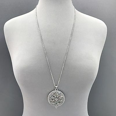 Silver Finished Long Chain 5X Magnifying Glass Mandala  Flower  Pendant Necklace