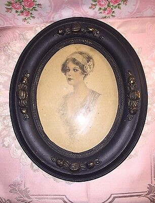 """Antique Wood Oval VICTORIAN PICTURE FRAME With PRINT 12"""" X 10.5"""" Wood Back"""