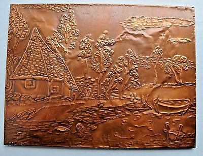 Vintage Arts & Crafts Embossed Copper Wall Hanging Rare