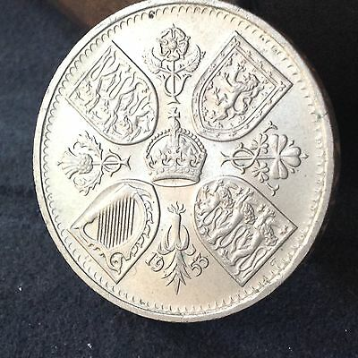 1953, Elizabeth 2nd, Coronation Crown coin. 5/-,  Free uk P&P.