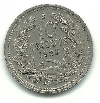 High Grade Au 1936 S Chile 10 Centavos Coin-Defiant Condor On Rock-Jan766