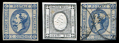 1861/63 Italian States Emmanuel II early postage stamps (x3)