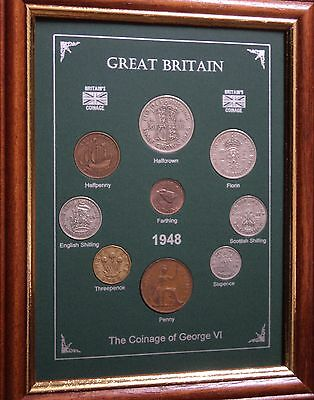 FRAMED 1948 COIN YEAR SET (RETRO 69th BIRTHDAY PRESENT WEDDING ANNIVERSARY GIFT)