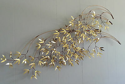 Mid Century Modern Signed Curtis Jere 1982 Bamboo Leaves Wall Art Sculpture 47""