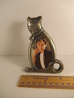 """Vintage Cat Small Picture Frame Silver Free Standing 4-3/4"""" Tall  Metal >^..^<"""
