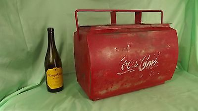 Vintage Red Coca Cola Metal Cool Box / Trunk Drinks Cooler