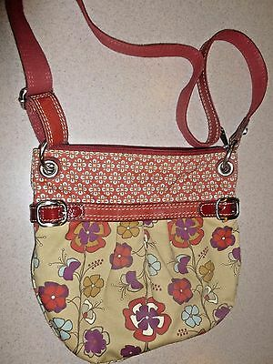 Fossil Travel Luxe Crossbody Canvas & Leather Shoulder Purse Bag Floral Handbag