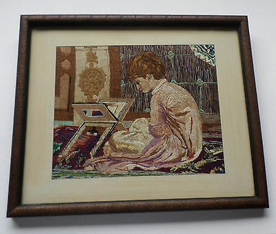 Lovely Antique Silk Hand Embroidered Picture of a Girl