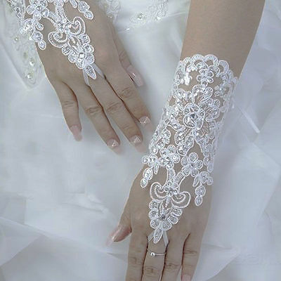 White Lace Diamante & Sequinned Fingerless Wedding Bridal Prom Gloves Brand New!