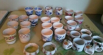 vintage bone China egg cups and napkin rings, job lot