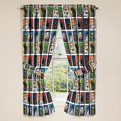"Disney Star Wars Multi-Color Window Curtain Panels & Tie-Backs 42"" W x 63"" L NEW"