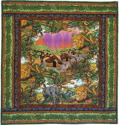 Art Quilts for Sale, Quilted Wall Hanging, Jungle, Handmade, HMJQuiltsPLus
