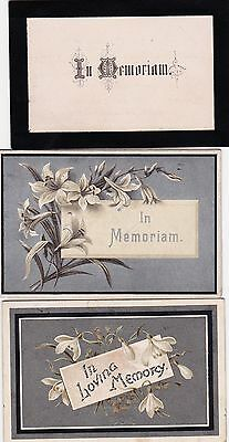 Victorian Folding  In Memoriam Cards.x 3. Children  1880, 1896, 1898
